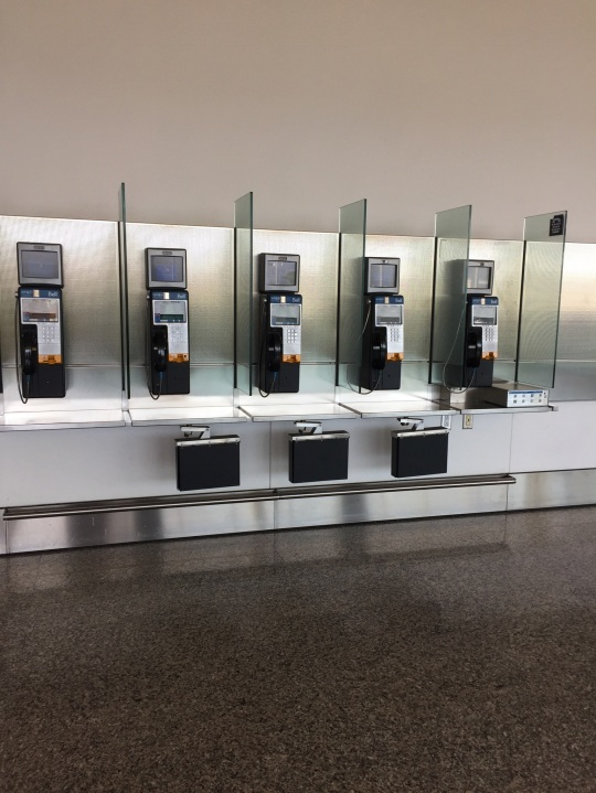 View of pay telephone booths, YYZ Terminal 1. Photo: K.R.White (June 2018)